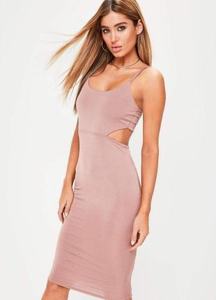 Платье миди цвет пудра от missguided