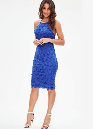 Кружевное синие вечернее платье от missguided