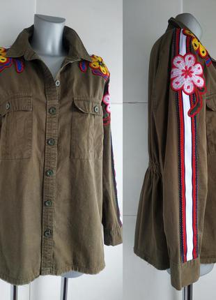 Стильная куртка topshop рубашечного кроя с вышивкой