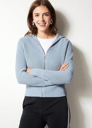 Оверсайз свитер худи вязаный с кольцом на змейке m&s