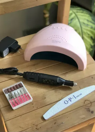 Стартовый набор для маникюра фрезер ручка +Лампа Sun One 48 Вт
