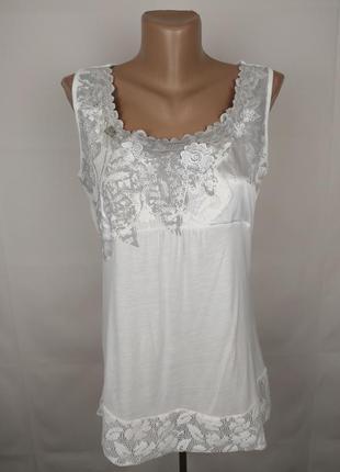Блуза белая шикарная с кружевом marks&spencer uk 12/40/m