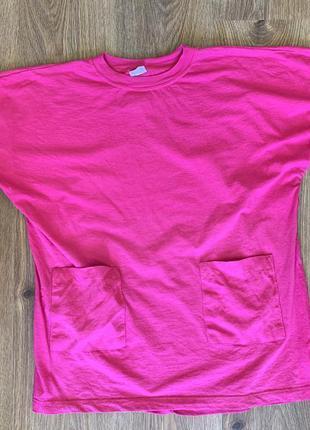 Яскрава малинова футболка, розовая футболка, яркая футболка.
