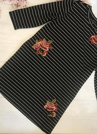 Платье в полоску вышивка большой размер