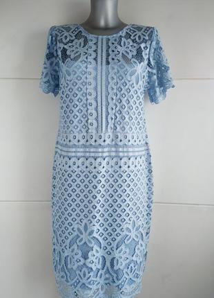 Нарядное кружевное платье next голубого цвета