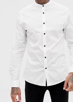 СКИДКА! Мужская белая рубашка без воротника ( стойки )