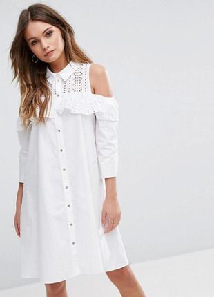 River island платье рубашка с воланом