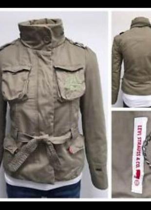 🎁1+1=3 фирменная женская хаки куртка парка демисезон levis ори...