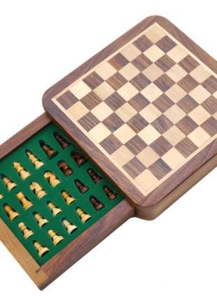 """Шахматы из красного дерева """"походные"""" магнитная основа"""