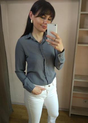 Шифоновая серая рубашка atmosphere