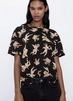 Хлопковая футболка в ангелочках zara