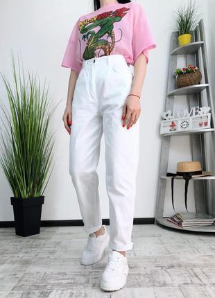 Белые винтажные летние джинсы мом момы высокая посадка