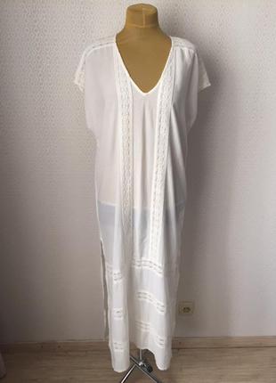 Белое длинное пляжное (или не пляжное )) платье с кружевом от ...
