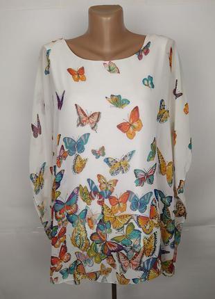 Блуза итальянская мега красивая в бабочки uk 12-14/40-42/m-l