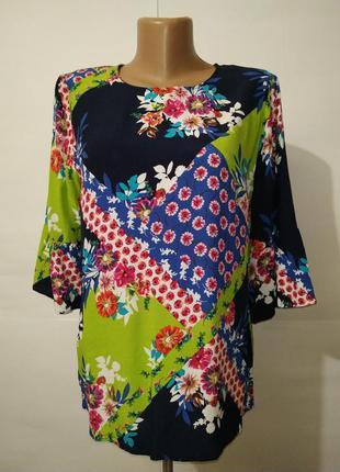 Натуральная привлекательная блуза в цветы next uk 12/40/m