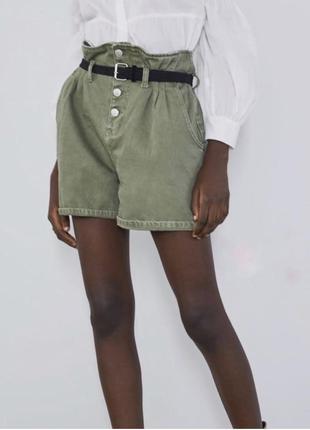 Оливковые джинсовые шорты с высокой талией zara