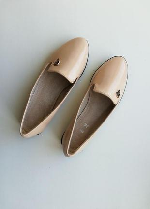 Бежевые лоферы балетки туфли туфельки бежеві туфлі лофери бале...