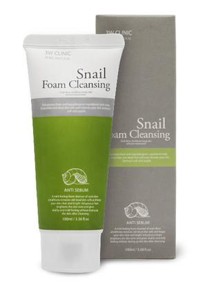 Корейская пенка улиточная 3w clinic snail foam cleansing, 100 мл.