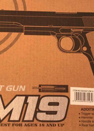 Игрушечный пистолет ZM 19 реплика Кольт Colt 1911-A1 метал, пласт