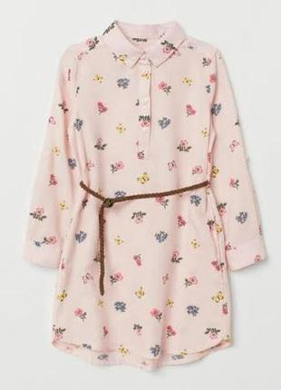 Рубашка платье в цветы h&m 5-6л
