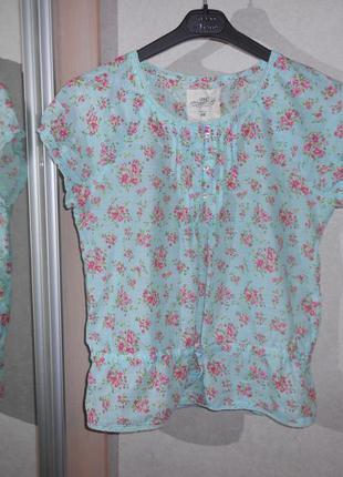 H&m нежная цветочная блуза на девочку 12-14 лет, р.160-164 см