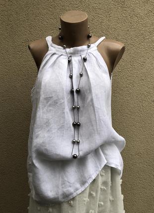 Белая,льняная майка,блуза,рубаха,бант по спинке,этно,бохо стил...
