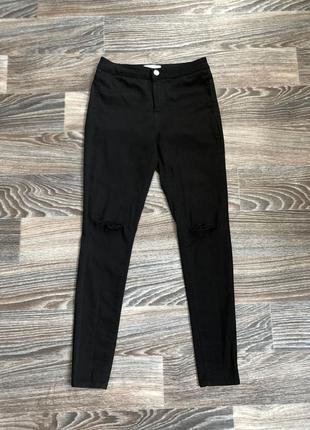 Черные хлопковые стрейчевые джинсы брюки с высокой посадкой с ...