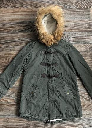 Суперская хаки хлопковая куртка парка с меховым капюшоном (нат...