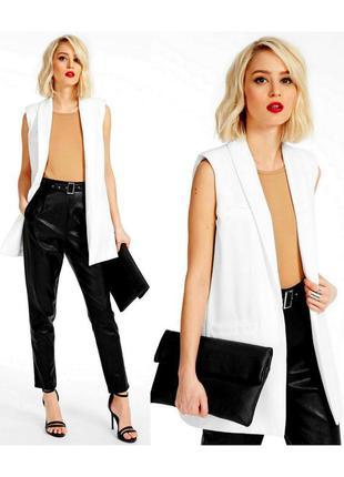 Новая белая удлиненная жилетка жилет пиджак жакет кардиган без...