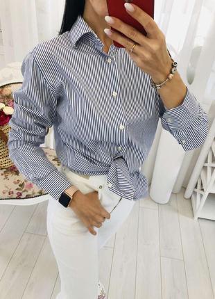 Белая рубашка в голубую полоску tommy hilfiger