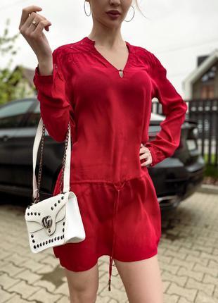 Платье шифоновое красное, с длинным рукавом