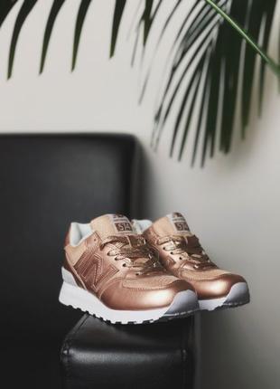 New Balance 574 Gold женские кроссовки золотые Нью Беланс 574