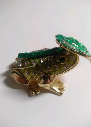 Шкатулка лягушка шкатулка с камнями шкатулка металлическая
