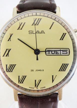 Часы Слава. Сделано в СССР. Позолота AU. Нечастые. Отличное со...