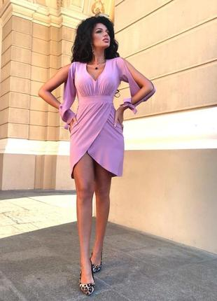 Стильное платье имитация фасона на запах цвет лаванда  (есть ц...