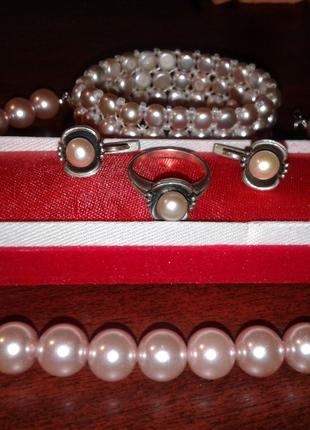 Жемчужный комплект (серебро и жемчуг натуральный + бусы майорка)