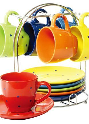 Яркий качественный Чайный сервиз на стойке Wellberg Glamour 13 пр