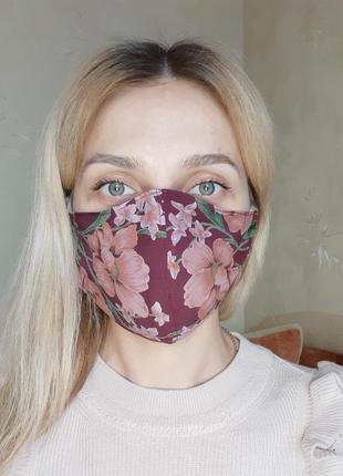"""Маска защитная трёхслойная для лица """"бардо в цветы"""""""
