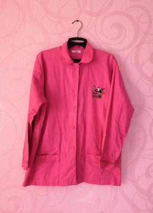 Розовая рубашка с минни маус с круглым воротничком