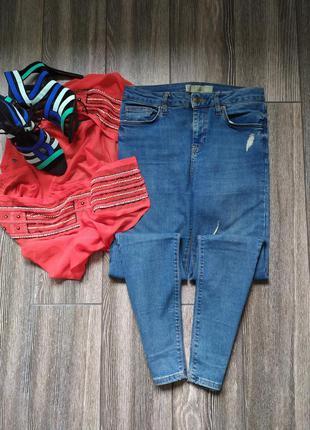 Стильные джинсы скинни с высокой посадкой талией topshop jamie