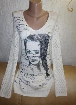 Удлиненная кофта/свитер джемпер трикотаж с изящными рукавами