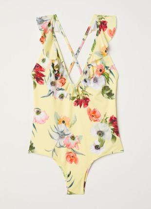 H&m купальник слитный сдельный, цветочный принт