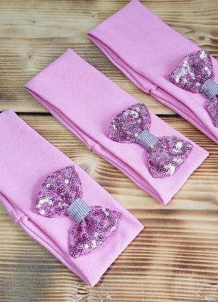 """Детская повязка из трикотажа """"бант"""", цвет: розовый"""