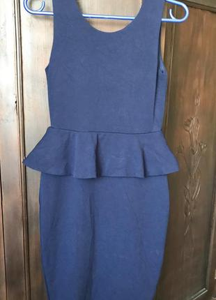Темно-синее короткое платье с баской без рукавов Lindex