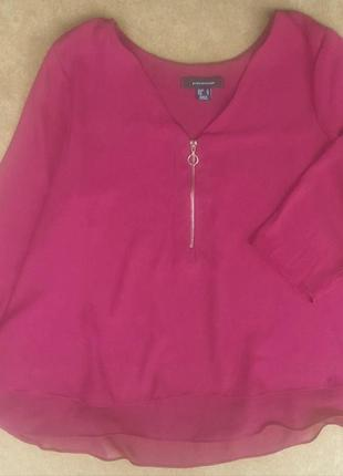 Шёлковая расклешенная блузка блуза с молнией atmosphere