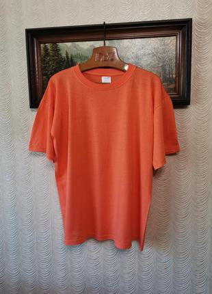 Футболка оверсайз морковного цвета хлопок 100 %