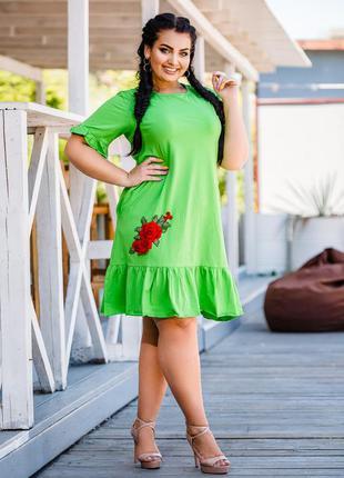Платье батал с вышивкой