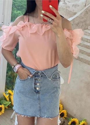 Блузка с рюшами открытые плечи