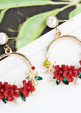 Серьги кольца весенние красные цветы