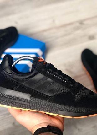 Кроссовки адидас мужские чёрные adidas black orange